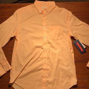 men's medium old navy orange long sleeve button up